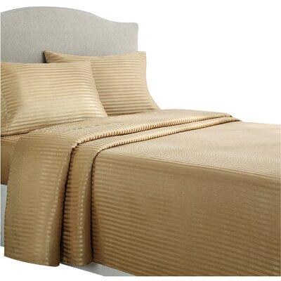 Allenton 4 Piece Stripe Sheet Set Size: King, Color: Gold