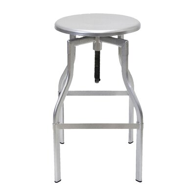 Donington Adjustable Height Swivel Bar Stool Base Finish: Silver