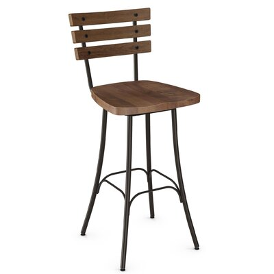Shanta 29.5 Full Back Swivel Bar Stool Upholstery: Semi-Transparent/Medium Brown