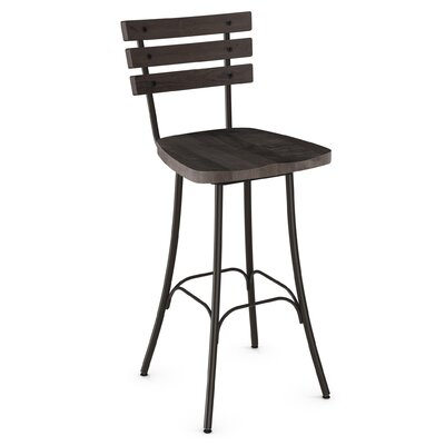 Shanta 29.5 Full Back Swivel Bar Stool Upholstery: Semi-Transparent/Medium Dark Gray