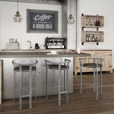 Crissom 30.5 Bar Stool Base Finish: Glossy Gray, Upholstery: Medium Brown