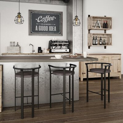 Crissom 30.5 Bar Stool Base Finish: Semi-Transparent, Upholstery: Medium Dark Gray