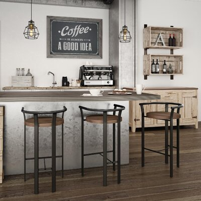 Crissom 30.5 Bar Stool Base Finish: Semi-Transparent, Upholstery: Medium Brown