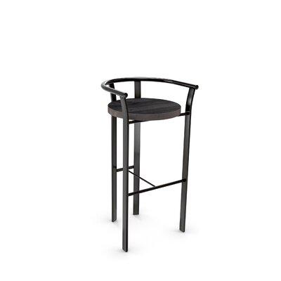 Crissom 26.5 Bar Stool Base Finish: Semi-Transparent, Upholstery: Medium Dark Gray