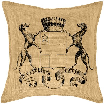 Blaine Dog Crest Burlap Throw Pillow Color: Black