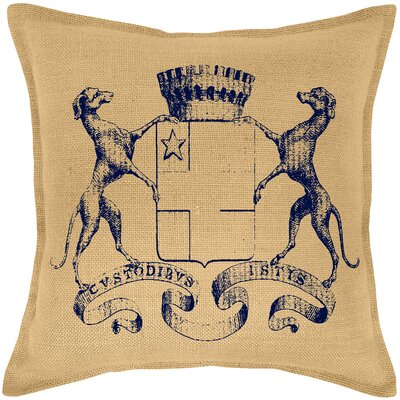 Blaine Dog Crest Burlap Throw Pillow Color: Navy