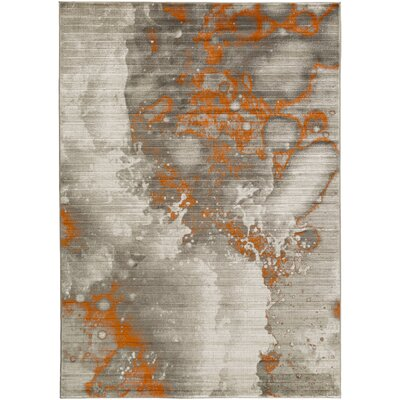 Chartwell Light Gray/Burnt Orange Area Rug Rug Size: 52 x 76