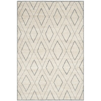 Watkins Hand-Knotted Beige/Gray Area Rug Rug Size: Rectangle 4 x 6