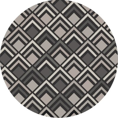 Denwood Hand-Tufted Charcoal/ Gray Area Rug Rug Size: Round 8'