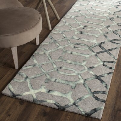 Kinder Hand-Tufted Gray/Charcoal Wool Area Rug Rug Size: Runner 23 x 8
