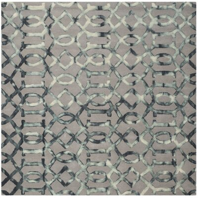 Kinder Hand-Tufted Gray/Charcoal Wool Area Rug Rug Size: Square 7