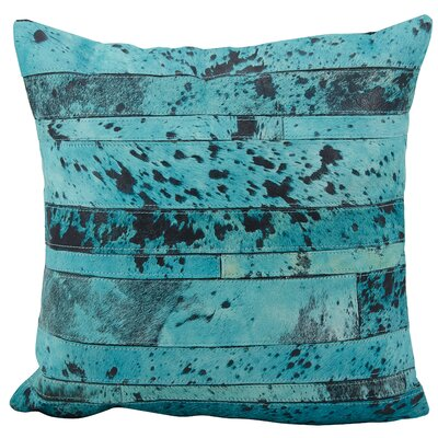 Chapelwood Natural Leather Hide Throw Pillow Color: Aqua Green