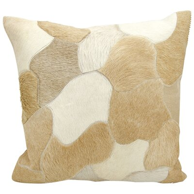 Cedrick Natural Leather Hide Throw Pillow Color: Beige
