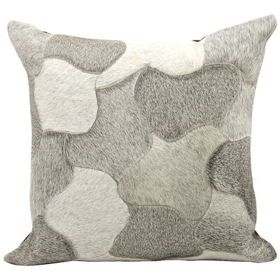 Tyne Natural Leather Hide Throw Pillow Color: Silver