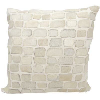 Dymalor Natural Leather Hide Throw Pillow Color: White