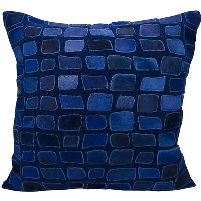 Dymalor Natural Leather Hide Throw Pillow Color: Navy