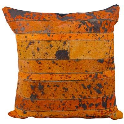 Charolais Natural Leather Hide Throw Pillow Color: Orange