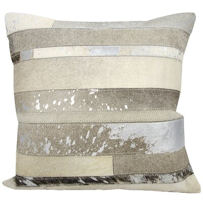 Russet Natural Leather Hide Throw Pillow Color: Silver Gray