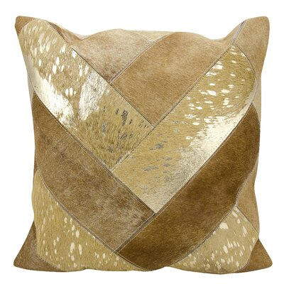 Boquillas Natural Leather Hide Throw Pillow Color: Beige Gold
