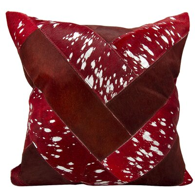 Boquillas Natural Leather Hide Throw Pillow Color: Burgundy Silver