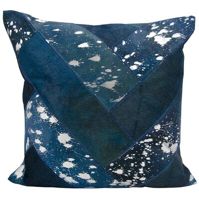 Boquillas Natural Leather Hide Throw Pillow Color: Navy Silver