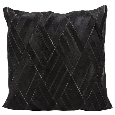 Cougar Cove Natural Leather Hide Throw Pillow Color: Black