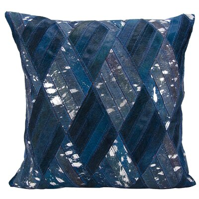 Cougar Cove Hide Natural/Organic Throw Pillow Color: Navy Silver