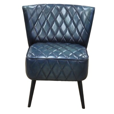 Ingrid Genuine Leather Upholstered Dining Chair Upholstery: Blue