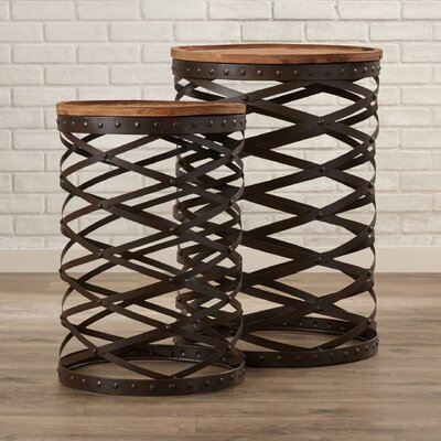 Cherrylawn 2 Piece Twisted Metal End Table Set