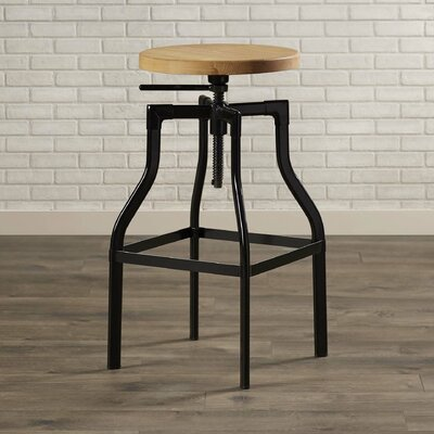 Donington Adjustable Height Swivel Bar Stool Base Finish: Black