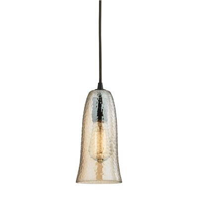 Esteban 1-Light Metal Mini Pendant Finish: Oil Rubbed Bronze, Shade Color: Hammered Amber Plated