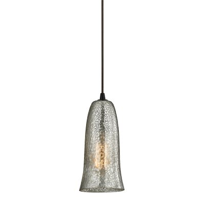 Esteban 1-Light Metal Mini Pendant Finish: Oil Rubbed Bronze, Shade Color: Hammered Mercury