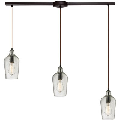 Esteban 3-Light Glass Kitchen Island Pendant Shade Color: Clear