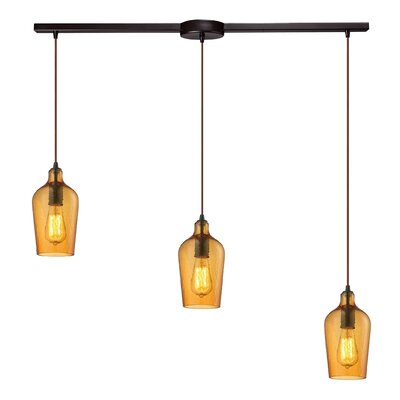 Esteban 3-Light Glass Kitchen Island Pendant Shade Color: Amber