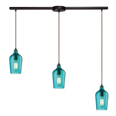 Esteban 3-Light Glass Kitchen Island Pendant Shade Color: Aqua