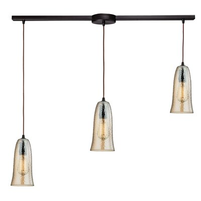 Esteban Modern 3-Light Kitchen Island Pendant Finish: Oil Rubbed Bronze, Shade Color: Amber Plated