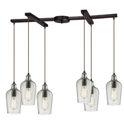 Esteban Modern 6-Light Kitchen Island Pendant Shade Color: Clear