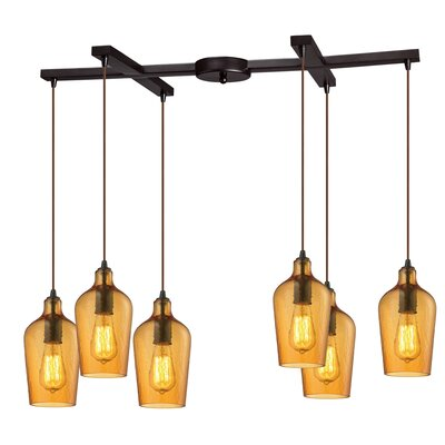 Rancho Mirage 6-Light Kitchen Island Pendant Shade Color: Amber