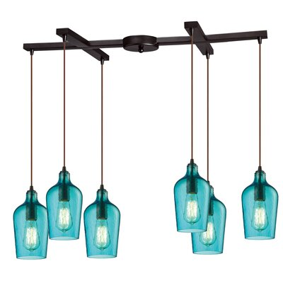 Esteban Modern 6-Light Kitchen Island Pendant Shade Color: Aqua