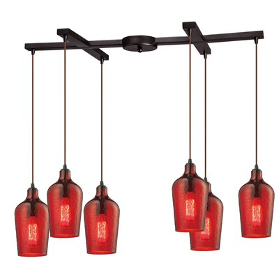 Esteban Modern 6-Light Kitchen Island Pendant Shade Color: Red