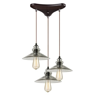 Esteban 3-Light Metal/Glass Cascade Pendant