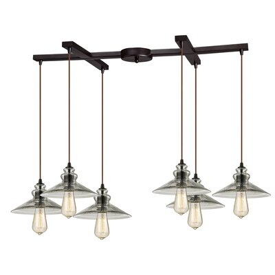 Esteban 6-Light Metal/Glass Kitchen Island Pendant