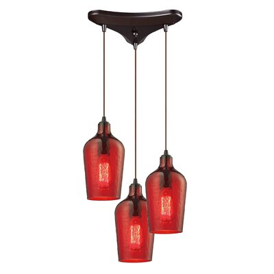 Rancho Mirage 3-Light Cascade Pendant Shade Color: Red