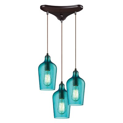 Esteban 3-Light Cascade Pendant Shade Color: Aqua
