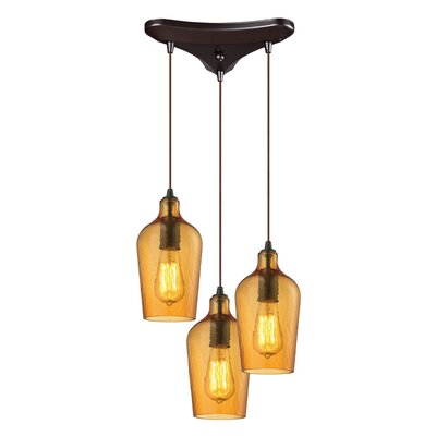 Esteban 3-Light Cascade Pendant Shade Color: Amber