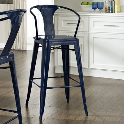 Cesare Bar Stool Finish: Blue