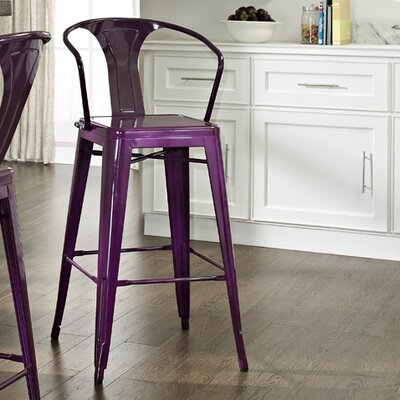 Cesare Bar Stool Finish: Purple