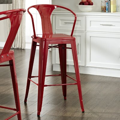 Cesare Bar Stool Finish: Red