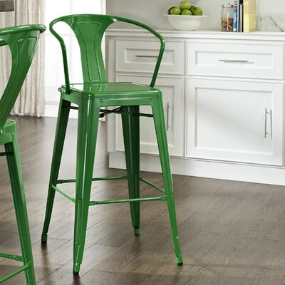 Cesare Bar Stool Finish: Green