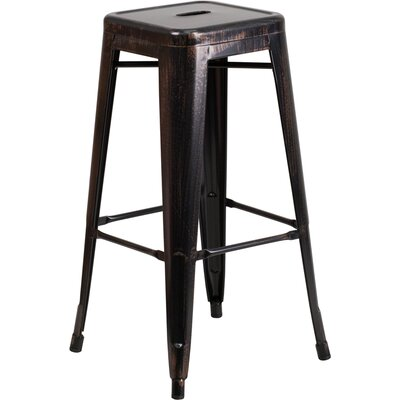 Barchetta 30 Bar Stool Finish: Glossy Black/Antique Gold